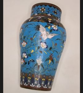 Antique Japanese Azure blue Cloisonne bronze vase